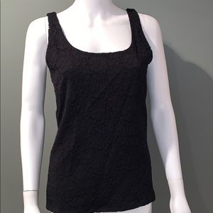 White House Black Market Womans Black Lace Tank M